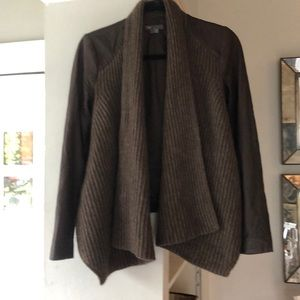 Vince leather / wool open cardigan jacket size xs